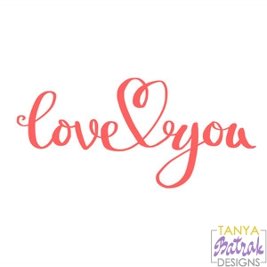 Love You Title Connected With Heart Svg File