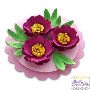 Circle Card With 3D Flowers